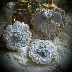Obsession, heart & doily in lavender, lace, & roses by Teri Pringle Wood
