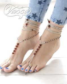 Barefoot Sandals, Beige - Brown. Comes in pair! Foot jewelry perfect for the summer! Materials: organic cotton, beads. Care: hand wash - lay flat to dry. One size fits all. For any barefoot activity like sunbathing, belly dancing, yoga, pilates, hippie wedding, beach wedding... Designed and hand crafted with Love by VascoDesign.