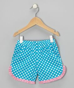 Take a look at the Turquoise Polka Dot Ruffle Shorts - Infant on #zulily today!