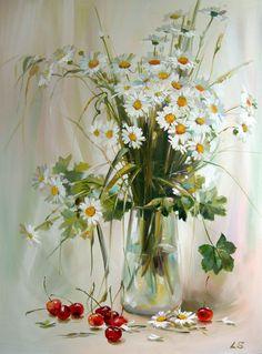 Daisies and cherries by Lyudmila Skripchenko
