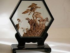 Vintage San You Cork Art Shadow Box China Chinese Diorama Wood Sculpture Scene   eBay