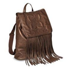 Mossimo Supply Co Fringe Backpack Handbag Brown Target Purse