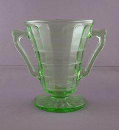 Depression Glass Price Guide: Block Optic Cone Sugar Bowl - Green