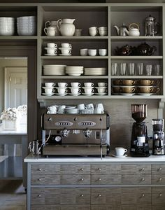 Open shelving in a home coffee bar