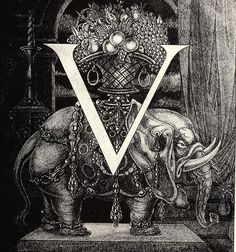 Initial Letter 'V' to Volpone - Aubrey Beardsley