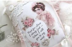 Pretty Lady & Pink Roses~VINTAGE POSTCARD IMAGE PILLOW~Lace~Shabby Cottage Chic