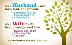 Verses for husbands and wives... Image from John McGee ministries via Time-Warp Wives