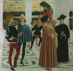 Perugino (attr.), miracolo del bambino nato morto, da storie di san bernardino  Date1473 Cloaks, Mantles, Hats, Painting, Life, Capes, Capes, Hat, Painting Art