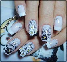 Nails Design Black And White Ongles Ideas Fabulous Nails, Perfect Nails, Black Nail Designs, Nail Art Designs, Nails Design, Fancy Nails, Pretty Nails, Flower Nail Art, New Nail Art