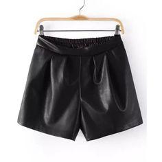 Faux Leather Elastic Waist short