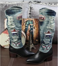 These Urban Cowgirl Denim and Leather Boots are made with true blue denim upper and genuine leather construction, has a upper, adorne High Heel Boots, Heeled Boots, High Heels, Cowboy Shoes, Cowgirl Boots, Long Boots, Mid Calf Boots, Leather Fashion, Fashion Boots