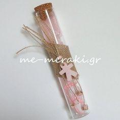 Μπομπονιέρα βάπτισης, γυάλινος σωλήνας (15 cm), διακοσμημένος με λινάτσα και κεραμικό παιδάκι και χάντρες. Handmade mpomponiera Me Meraki Mpomponieres Χειροποίητες μπομπονιέρες βάπτισης. Με Μεράκι Μπομπονιέρες μπομπονιέρα www.me-meraki.gr