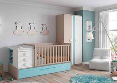Dormitorio de bebé con cuna convertible y armario