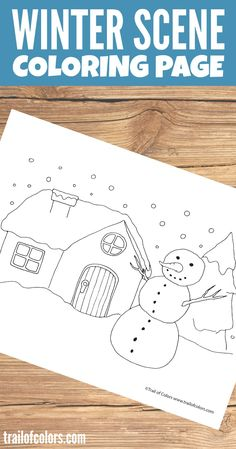 This calming Winter Scene Coloring Page for your little ones is perfect for those cold winter nights. Of course it is free so do not hesitate to print it.