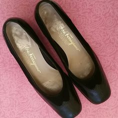 Vintage! SALVATORE FERRAGAMO Leather and Suede OLD!! Salvatore Ferragamo Leather and suede flats. Gorgeous! Super old, but still in great shape. There is normal.wear and tear. I'm not even sure what year these are, but they're very old. Maybe even antique. Minor cracking in shoe liner from old age where shoe bends. Barely. You'll never feel it. They're in great shape. And what a price! Super cute too! They're tiny! Hand written Serial well as Numbers in the shoe along the rim inside…