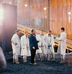 """photo of stanley with some cast members on the set of """"2001: a space odyssey"""""""