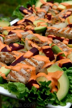 Grilled pork salad with beets, potato and avocado