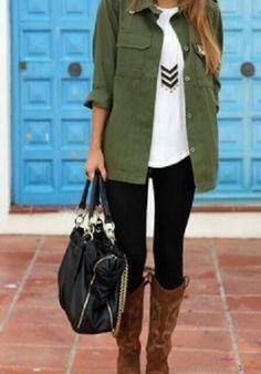black leggings, white tank, green utility jacket, brown boots