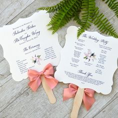 These whimsical wedding fan programs cools you off and is informative. Perfect for a warm outdoor wedding. Lace Invitations, Handmade Invitations, Wedding Invitation Wording, Invites, Wedding Program Fans, Wedding Fans, Ceremony Programs, Wedding Reception, Blush Bridal Showers