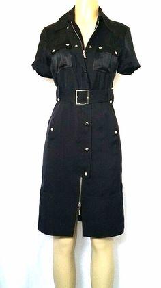 Karen Millen Utility Military Shirtdress Black Safari Button Down Zip Belted S 6 #KarenMillen #SheathDressShirtDress #Any