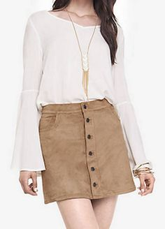 Love this skirt and white blouse look for Fall