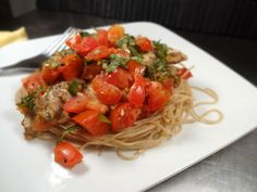 Colleens Kitchen: Chicken Bruschetta over Whole Wheat Angel Hair Pasta