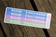 Weekend Banner Planner Stickers for the Erin Condren Life Planner. Follow us on Insta @bellarosepaperco for coupons! #erincondren #plannergirl #plannernerd #plannerstickers #ErinCondrenLifePlanner