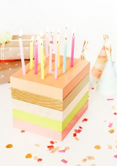 DIY Wooden Birthday Cake Decor via Sugar & Cloth