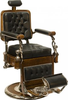 Vintage Koken Oak  Black Leather Barber Chair  Classic lines, look, and you can almost feel it.