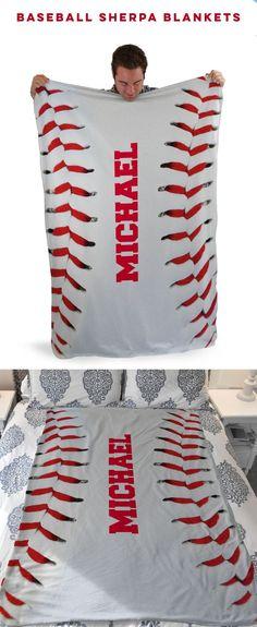 Custom Baseball Stitches Sherpa Fleece Blanket! A great baseball team gift idea!