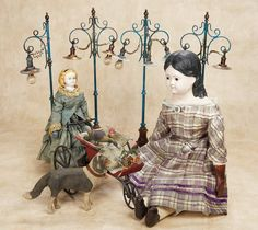 Mid-19th Century American Patented Mechanical Doll by Goodwin,with Dog; 1868