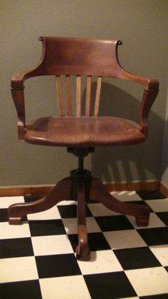 alter Dreh Stuhl, 16 kg, Ford Johnson & Co Chicago, Sessel, Holz, Eisen, Antik