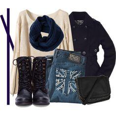 navy fleece trench coat - cream one-pocket sweater - medium wash skinny jeans - black combat boots - black and silver crossbody bag - royal blue single belt - navy knit tube scarf