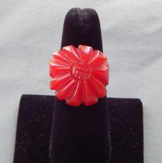 Vintage Art Deco era Chunky Red Carved Bakelite Flower Ring Sz 7