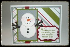 A little Snowman Punch Art for your Merry Moments Designer Paper. Make with the Stampin' UP! punches :) Happy Crafting!~ Dee