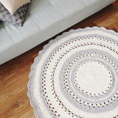 Round Hand Crochet Rug/ Rug / Nursery Rug / Kids Room Rug / Grey Rug /  Scandinavian Rug/ Kids Cotton Rug/ Round Rug