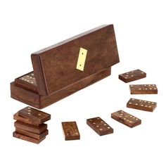 Handmade Wooden Domino Tile Game in Storage Box - Complete Game Set - 8' x 3' x 2.5' *** To view further for this item, visit the image link.
