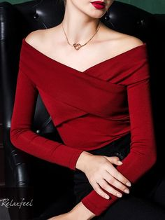f2af62c032 Classic woman female spring and autumn collar elegant slim sexy strapless long  sleeve slash neck T-shirt casual red black shirt. Relaxfeel Fashion