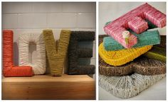 Yarn Wrapped Letter Inspiration by Caitlin Burch, via Flickr.  Next project for above kitchen cabinets.