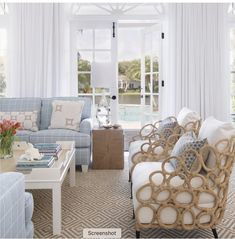 Loving this bright and airy room and all of it's gorgeous, modern coastal details! Interior design by Style At Home, Living Room Chairs, Living Room Decor, Curtains Living, Lounge Chairs, Comfortable Living Rooms, Coastal Living Rooms, Coastal Cottage, Coastal Decor