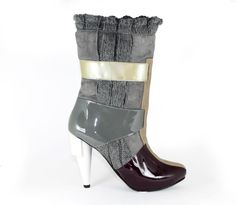 muti colored knit booties