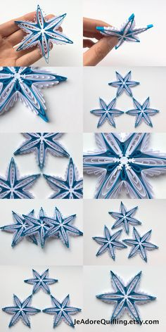 Snowflakes Blue White Christmas Tree Decoration Winter Ornaments Gifts Toppers Fillers Office Corporate Paper Quilling Quilled Handmade Art