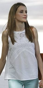 Doña Letizia in August 2013 during a visit to the Granja de Esporles in Mallorca with the family.