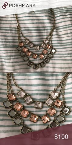 """Retro Glam Square-Cut 3 Layer Necklace Worn a few times. In excellent condition. No longer in stock. This triple layer design stacks our favorite shades of retro glam, faceted glass – black diamond, faded blush, and clear crystal. Brass cable chain and smooth bezels add that vintage vibe you've come to know and love in our square-cut signature styles. antique brass-plated nickel-free plating 16"""" - 20"""" approx. lengths + 2"""" extender lobster clasp clear, blush + black diamond glass Chloe…"""