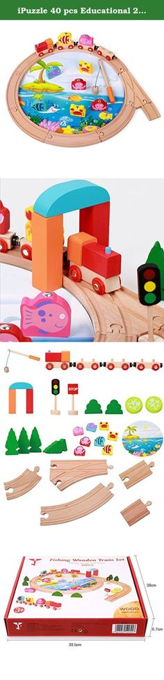 iPuzzle 40 pcs Educational 2 in 1 Magnetic Toys Fishing and Wooden Stacking Rail Train Set for Kids Toddlers. Specification: Dimension: 40 x 6.5 x 38 CM Weight: 67 OZ Package: box Features: multiple levels of play. Material: Magnetic wood Number of players: 1 or more Level of Difficulty: Novice Educational Focus: Creative thinking, motor skills. Warnings: The shape of some parts make this toy unsuitable for children under 3 years old. Use under the direct supervision of an adult. Do not...