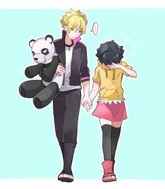 Boruto y Himawari- familia Uzumaki Naruhina, Himawari Boruto, Sarada Uchiha, Naruto Shippuden Anime, Kakashi, Shikamaru, Anime Naruto, Naruto Fan Art, Naruto Comic