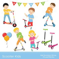 Digital Clipart Scooter Kids for by YelloWhaleDesigns on Etsy Invitation Paper, Invitations Kids, Digital Invitations, Scooter Drawing, Car Repair Service, Motorcycle Design, Art File, Scrapbooking, Clipart