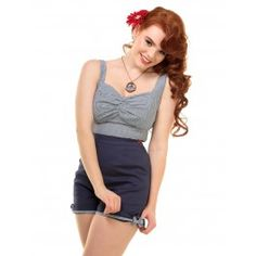 Short Pin-Up Rockabilly 50's Rétro Taille Haute Sammy