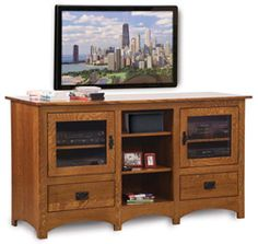 Amish Outlet Store : Schwartz Flush Mission TV Stand with Center Opening in Rustic Cherry