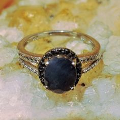 Regular Price 159.99 Natural Midnight Blue Sapphire/Black Diamond Ring 2.39ct sz8 5 Gemstone 925 Sterling Silver Free Domestic Shipping by Montanasilver796 on Etsy